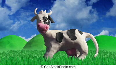 clay animation cow eating grass - clay stop motion...