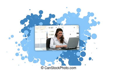 Woman showing coworkers against a spotted background
