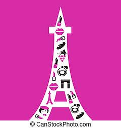retro, Paryż, Eiffel, wieża, sylwetka, ikony, odizolowany,...