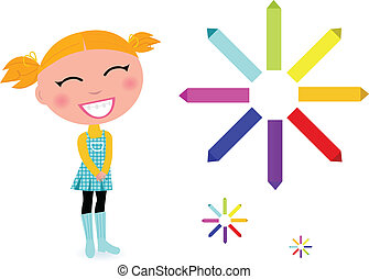 School girl with rainbow pastel pencils isolated on white