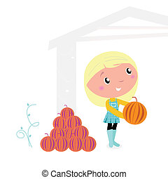 Thanksgiving cute Child with pumpkin heads isolated on white