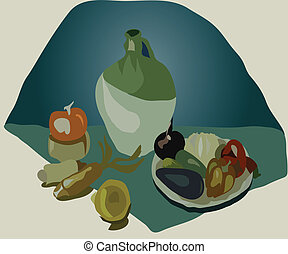 image of still life with green-stuffs and by a jug