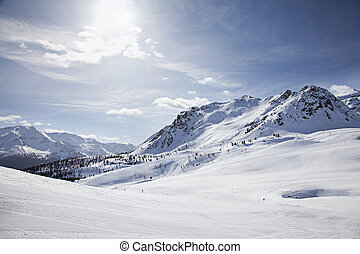 Winter Landscape - Winter landscape of European Alps Bormio,...
