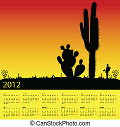 calendar for 2012 with cactus in desert