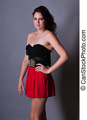 Red and black - Tall young brunette in red and black