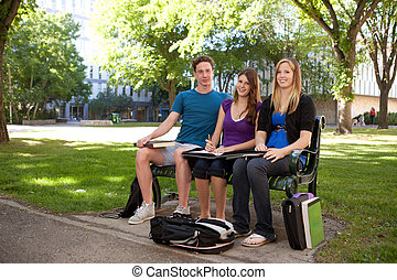 Student Study Group - Group of students sitting on a bench...