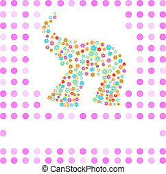 Indian elephant sign. Cute animal character design