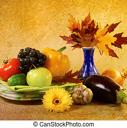 Gifts of Autumn Still Life vintage style