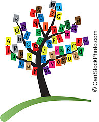 alphabet stylized tree - illustration of alphabet stylized...