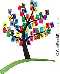 alphabet stylized tree - illustration of alphabet stylized...
