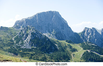 Carinthia - hiking trail on the alp in summer towards huge...