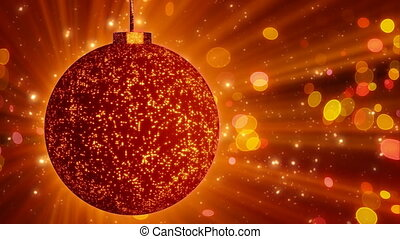 orange christmas ball close-up loop
