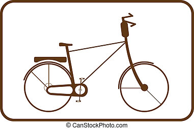 brown bike on white background in f - Silhouette brown bike...
