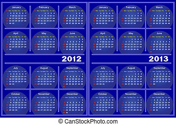 Blue Calendar - Template of a calendar on 2012 and 2013 A...