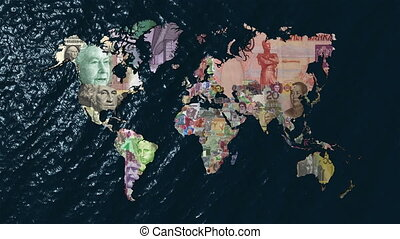 Financial World Slow Zoom - Financial World with Currencies...
