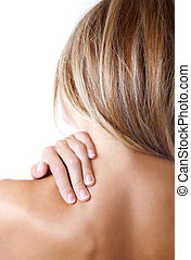 Just pain - Woman holding her shoulder because of pain