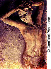 naked - Portrait of an artistic woman painted with clay....