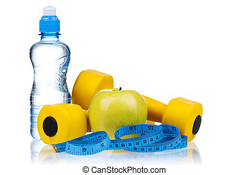 Dumbbells - Yellow one kilogram dumbbells with apple,...