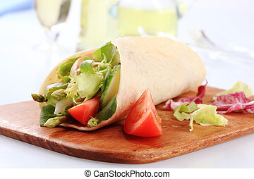 Vegetarian wrap sandwich - Corn tortilla filled with fresh...