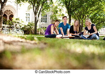 Happy Students on Campus - Group study session with four...