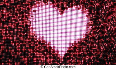 heart shape on digital screen loop - computer generated...