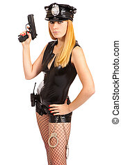 Beautiful sexy police girl with handgun and handcuffs,...