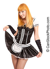 Beautiful caucasian woman dressed in a French Maid costume...