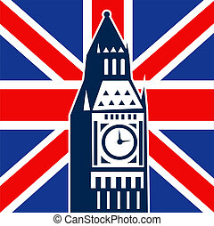 London Big Ben British Union Jack flag - illustration of a...