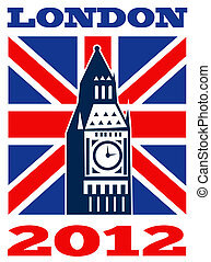 London Big Ben British Union Jack flag 2012