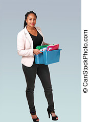 Office girl with file-box