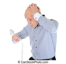 Nervous businessman screaming on the phone Isolated on white...