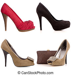 cztery, Samica, Wysoko-heeled, Obuwie