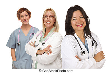 Three Female Doctors or Nurses on White - Three Female...