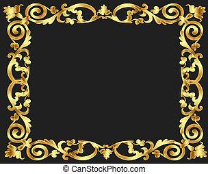 frame background with gold vegetable pattern - illustration...