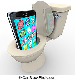 Smart Phone in Toilet Frustrated Old Model Obsolete - A...