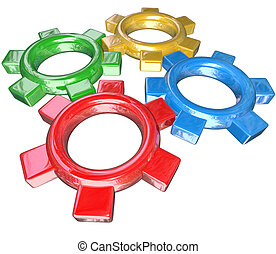 Four colorful gears -- one green, red, blue and gold -- turn...