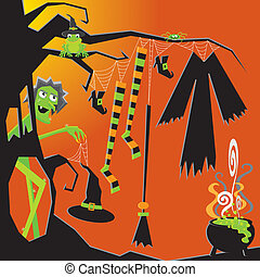 Witch's Clothesline - Crazy nude Witch gets ready for the...