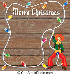 Cowboy with Christmas Lights Lasso against weathered wood