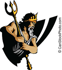 titán, mascota, tridente, corona