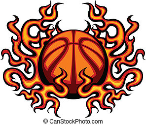 Basketball Template with Flames Vec - Graphic Basketball...