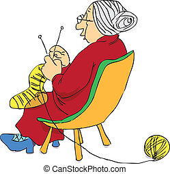 Mature woman - Elderly woman knitting a sock on the needles....