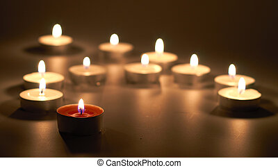 candles in dark on