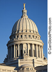State Capitol of Wisconsin - Dome of State Capitol of...