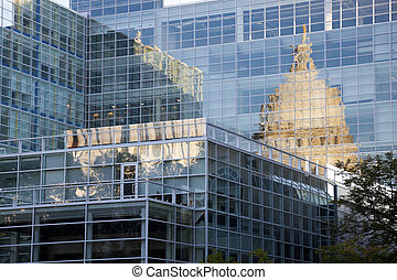 State Capitol of Wisconsin reflected in the glass building