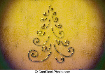 Christmas tree background - Christmas tree golden metal...