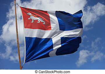 Medieval flag - Image of a medieval flag in the wind against...