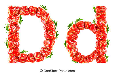 Strawberry alphabet - D - Photorealistic 3d render