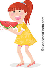 girl eating watermelon - gil in summer cloths eating...