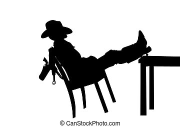 cowboy - The cowboy sleeps on a chair
