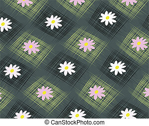 Background with square and flowers - Gray background with...